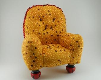Golden Beaded Pincushion Chair