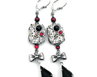 Steampunk Black and Red Crystal Earrings