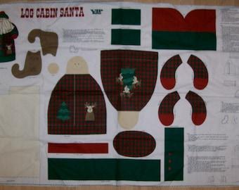 A Wonderful Out Of Print 2004 VIP Log Cabin Santa Stuffed Dolll Fabric Panel Free US Shipping