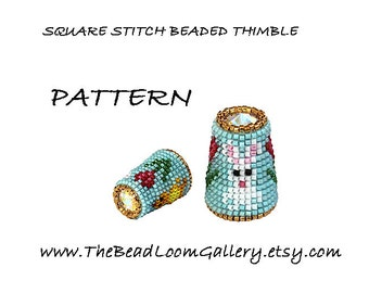 Beaded Thimble with Swarovski Rivoli Top - Delica Beads PDF PATTERN - Square Stitch - Vol.21 - Easter Thimble