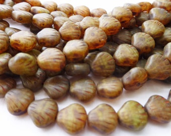 25 Beautiful Czech Glass Shell Beads in Mottled Matte Picasso Brown  9 x 9 mm