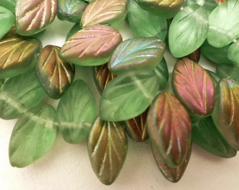 50 Czech Glass Leaves in Mint Green Vitrail Matte   Size 12x7mm