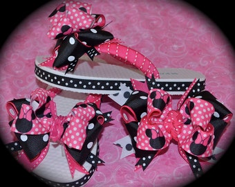 Custom Boutique Girls Disney Vacation Hot Pink and Black MINNIE MICKEY MOUSE Ribbon Flip Flops Hair Bow Set