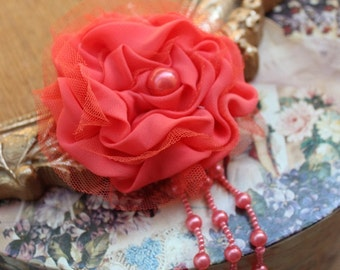 Cute  chiffon flower applique with beads