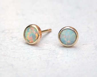 Solid Gold Earrings, Opal Earrings,Gift for her, white opal stone Fine 14k  Gold Stud earrings  5mm, Cluster earrings, Clip on Eaarings