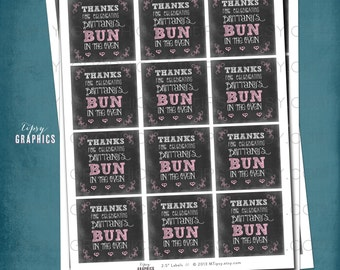 Chalkboard Bun in the Oven Favor Tags or Stickers by Tipsy Graphics. Any colors, text & size.