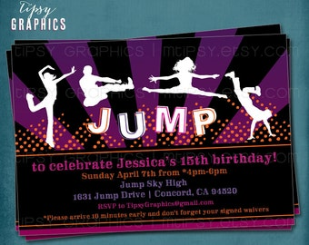 Teenagers JUMP Trampoline or Bounce House Birthday Party Invite by Tipsy Graphics