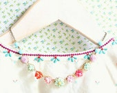 Girls Romantic Flower Necklace, Pastel Necklace, Shabby Chic Necklace, Children Jewelry
