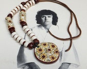 Flower Power Ceramic fired vintage flowered medallion and beads strung on brown cord short necklace or choker style. Raised painted daisies.