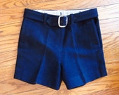 1950s Boys Navy Wool Shorts with Buttonholes for Suspenders