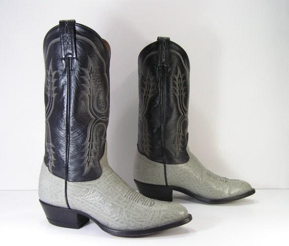 vintage cowboy boots womens 9 m b gray black by