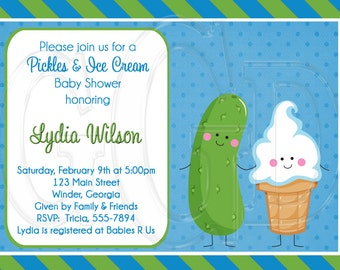 Pickles & Ice Cream Baby Shower or Sprinkle (for 2nd or 3rd Child) Invitation-Digital File