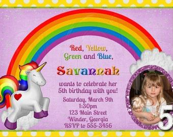 Unicorn Rainbow Birthday invitation-Digital File