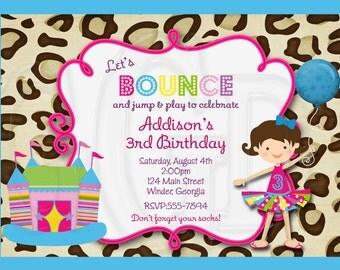 Bounce House Invitation leopard cheetah - Digital File