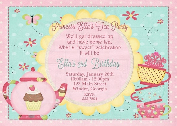 Tea party invitation birthday dress up party digital file like this item stopboris