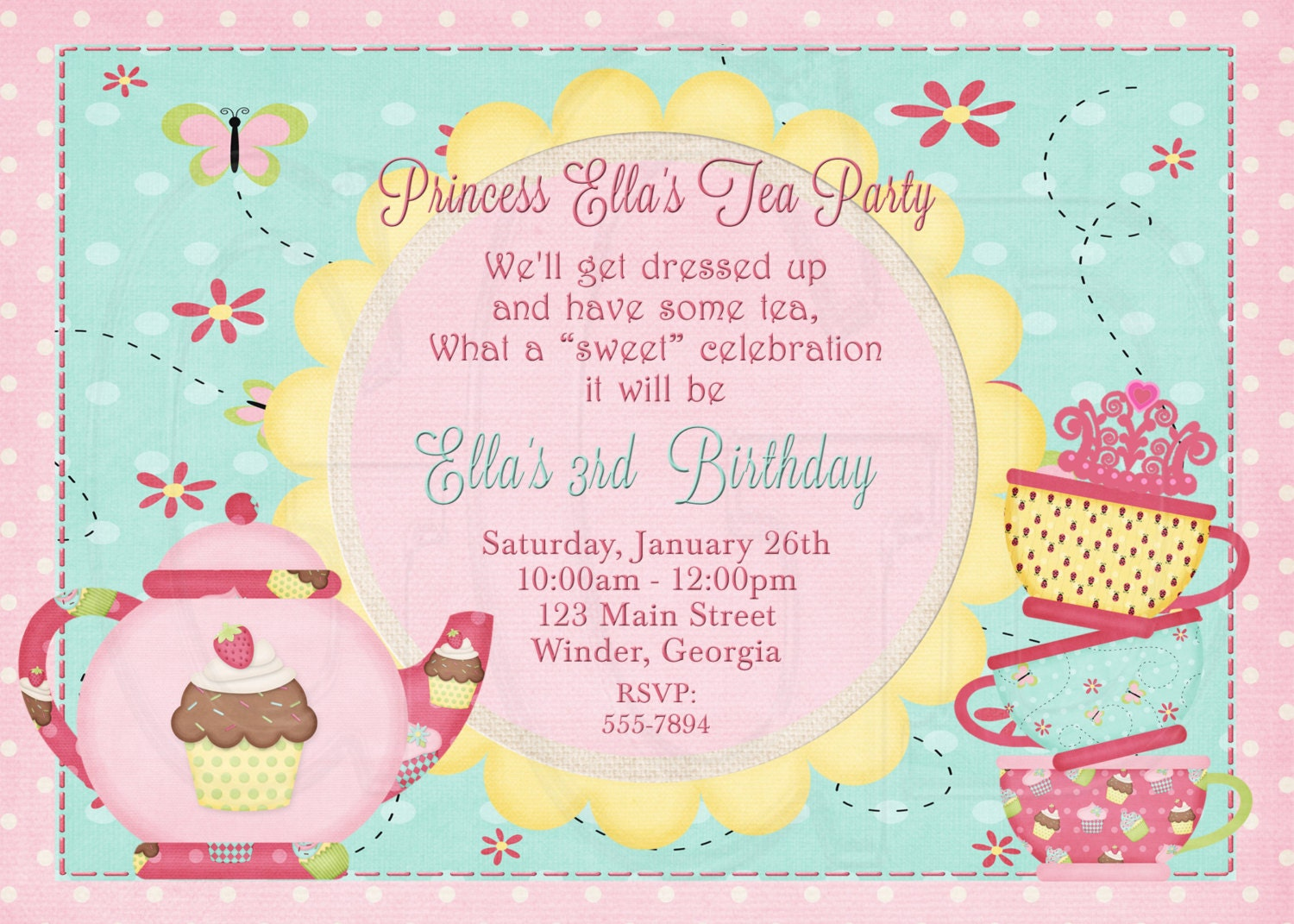 Tea party invite – Kids Tea Party Invitations
