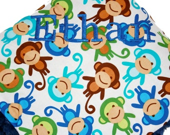 Monkey Minky Baby Standard Size Monogramming Included