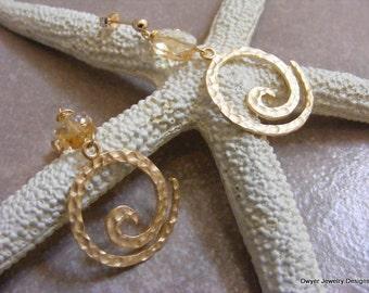 Citrine Swirl Post Earrings in Matte Gold.