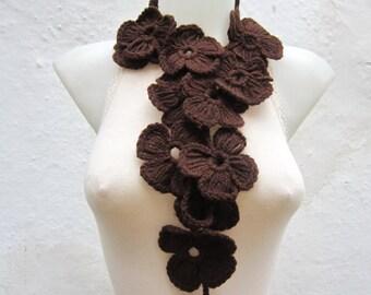 Lariat Crochet Scarf, Brown, Flower Lariat Scarf, Crochet Necklace