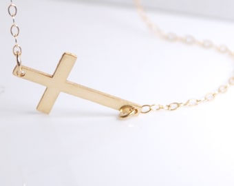 Sideways cross necklace, 14K gold filled sideways cross necklace, celebrity inspired necklace