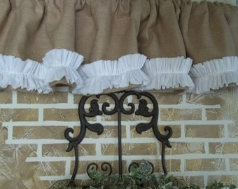 Burlap Valance with Tattered Ruffle