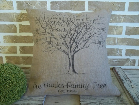 Mother's Day - Personalized Family Tree Burlap Pillow