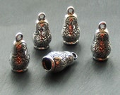 SALE, Russian DOLL Charms x 5, tibetan silver style, antique silver tone, UK seller, reduced, was 1.60, now only 1 pound while stocks last
