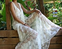 Bridal Lingerie Sheer Lace Nightgown Tie Front Waterfall Gown Wedding Sleepwear Honeymoon White Ivory Lace