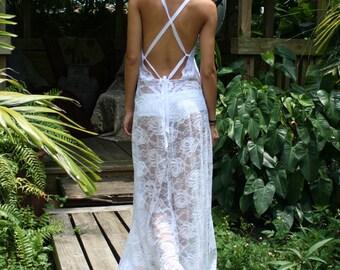 White Lace Backless Nightgown Bridal Lingerie Wedding Honeymoon Summer Cruise Sleepwear