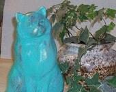 Ceramic Cat Statue metallic verdi syle