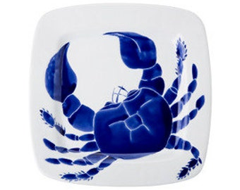 Large square navy blue ceramic crab serving platter, dish, tray by Jessica Howard