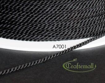 Soutache cord - twisted soutache cord 1.5mm - black (A7001) - 2 meters