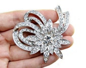 1 Crystal Rhinestone Button or Connector for Wedding Decoration Invitation Card Scrapbooking CN-005 (62mm by 57mm or 2.4inch by 2.2inch)