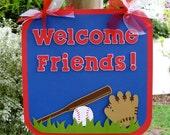 Baseball Door Hanger - Welcome Friends - MADE TO ORDER