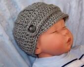 Baby Boy Newsboy Hat, Baby Boy Visor Hat, Newborn Crochet Newsboy Hat, Gray, Infant Newsboy Hat, Gift