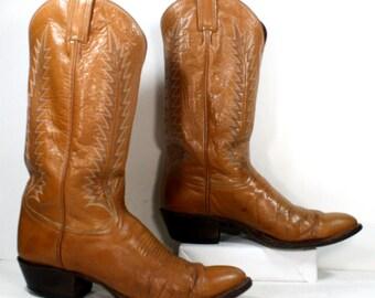 Vintage orange tan Tony Lama brown heel cowboy mid calf womens Leather fashion western boots 9.5 B M