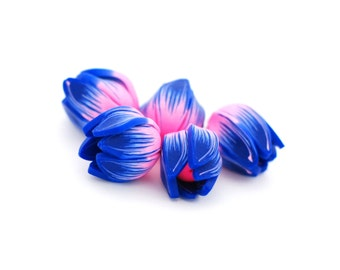 Tulip beads - bright pink and dark blue flower tulips buds polymer clay - 5 pcs