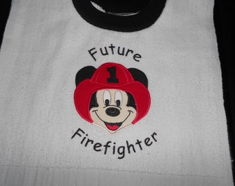 Mickey Future Fireman over the head bib