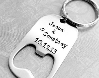 Personalized Bottle Opener Keychain Gift, Wedding Favor, Gift for Bridesmaids, Gift for Groomsmen, Favor. Farmhouse Chic Wedding.
