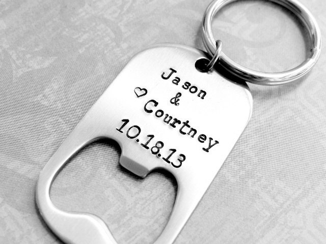 Wedding favor personalized bottle opener with by bbeadazzled for Bottle opener wedding favor