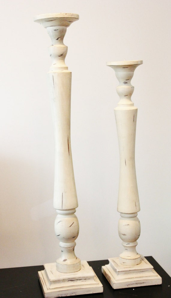 30 Very Tall Distressed Ivory Candlestick Pillar Candle