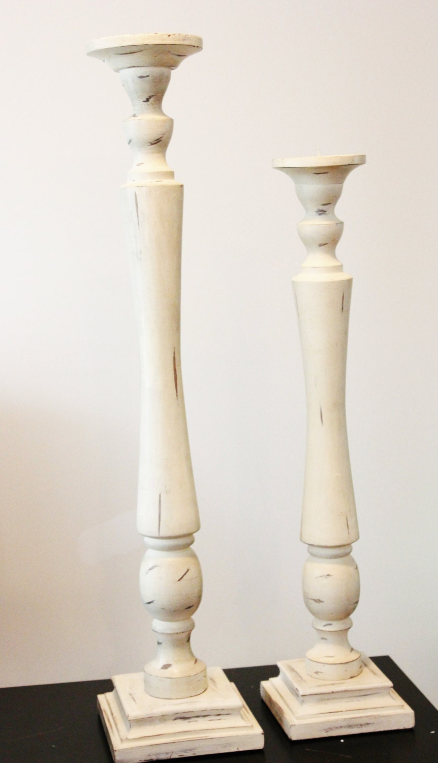 30 Very Tall Distressed Ivory Candlestick By Thefulfilledshop