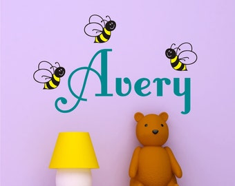 Personalized Name With Happy Bumblebees, Custom name Vinyl wall decals stickers, nursery, kids & teens room, removable decals stickers
