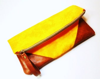 Orange Tangerine Crush Tie Dye Pouch/Clutch with Genuine Leather Corners