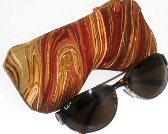 Eyeglass Case, Sunglasses Pouch, Sunglasses Case, Zippered Eye Pouch, Brown Swirl