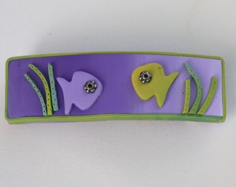 Fun French barrette with fish, in purple, green and yellow, polymer clay