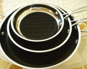 Pan Protectors - Fry Pan Cozy - Black - No More Scratches Fry Pan Storage - Set of 3 sizes - Machine Washable