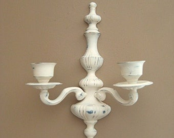 Cottage Chic Candelabra Wall Sconce / 2-Arm Candle Sconce / Heavy Painted Brass Sconce