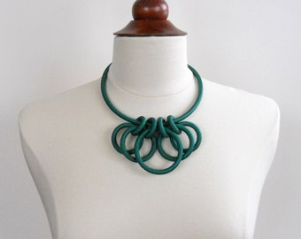Emerald Green Textile Statement Necklace