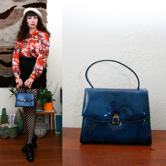 Vintage 60s Blue Marbleized Patent Purse